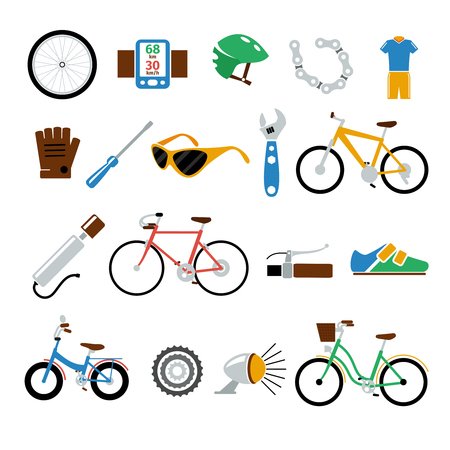 biking: Bicycle, bike vector flat icons set. Lantern and wrench, screwdriver and clothes, repair and pump, brake and sportswear, glove and glasses illustration