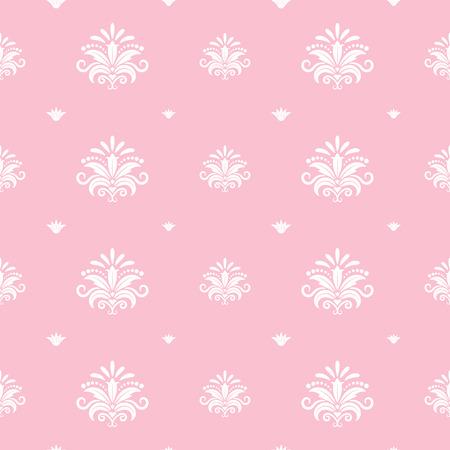 barroco: plantilla de la princesa barroca floral. Diseño decorativo de color rosa, damasco telón de fondo, real ornamental, ilustración vectorial