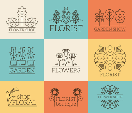 gardening: Gardening and floristry logos. Floral shop, organic boutique badge, plant eco, vector illustration