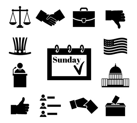 political: Voting and elections black vector icons. Politic and ballot, government and president, box and law, democratic politician illustration
