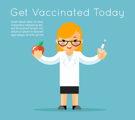 an injection needle: Doctor with syringe. Medical vaccination background. Vaccine and care, needle injection, apple and medic. Vector illustration Illustration