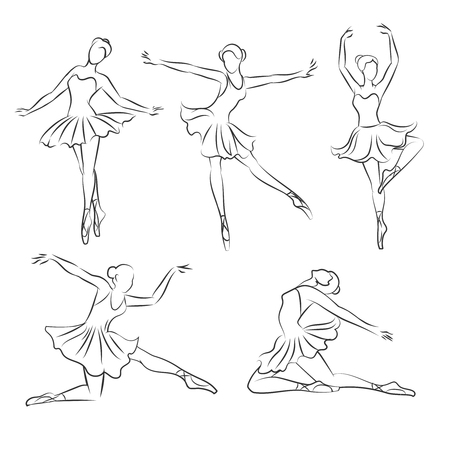 Beautiful ballerina hand drawn set. Ballet dance, art and pose, sketch girl, vector illustration Illustration