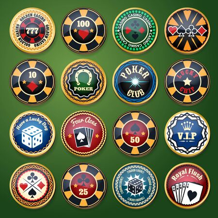 vip badge: Casino and poker club color glossy labels set. Card game, bet and chip, play and leisure, luck and fortune, vector illustration