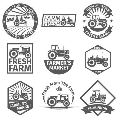 labels Boerderij met tractor. Natuurlijke organische, de landbouw en de landbouw, gezonde vectorillustratie