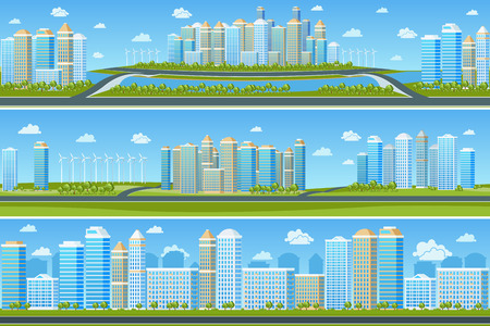 office building: Urban landscape set with modern city. Cityscape building, tree and town, vector illustration