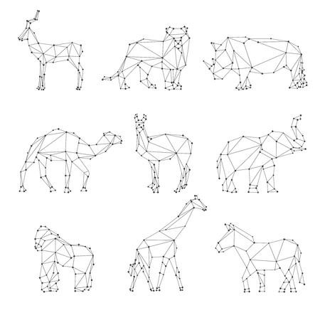 to polygons: Animales geométricos siluetas. Logo inusual, huevas y el león, el rinoceronte y el camello, el elefante y el gorila, ilustración vectorial Vectores