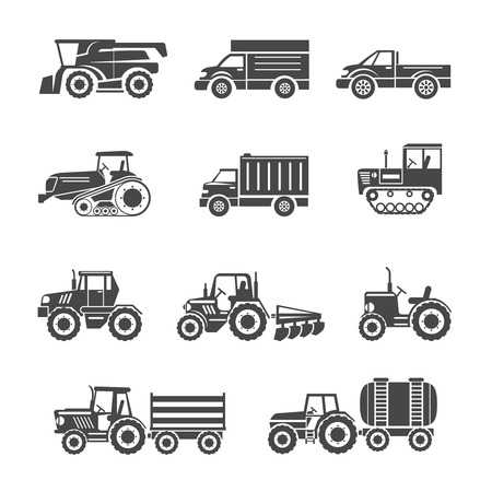 Agricultural machinery icons set. Tractor and pickup, truck and trailer, tank and lorry, vector illustration Ilustracja