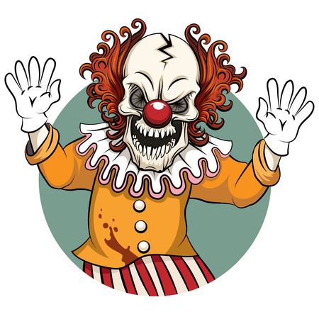 Clown angry. Face horror and crazy maniac, scare zombie. Vector illustration Stock Photo
