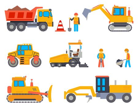 construction machinery: Road under construction flat icons set. Car industry, road work, machine and paver, transportation industrial, vector illustration