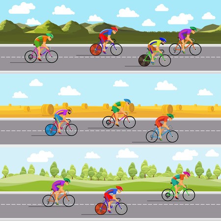 bicycling: Racing bicyclists on bikes. Seamless panoramic backgrounds set. Competition race, speed and road, tour and route, vector illustration