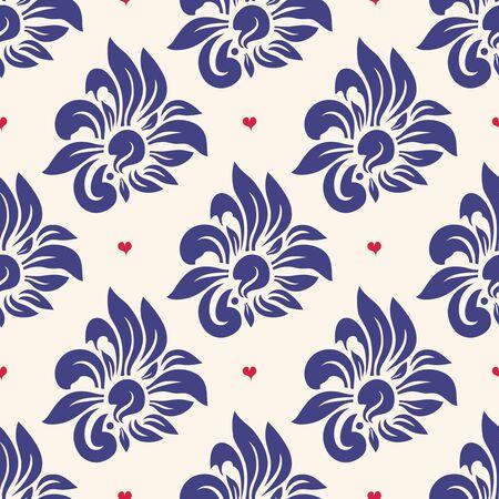 eleganz: Trendy nahtlose Blumenmuster. Hintergrundmuster, Herzen und Blumen, Vektor-Illustration Lizenzfreie Bilder