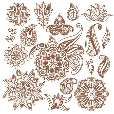 henna design: Henna tattoo, Mehndi. Abstract floral elements in indian style. Ethnic decor, element flower. Vector illustration Stock Photo