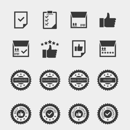 sale icons: Quality control black icons set. Label certificate, warranty stamp sale, mark badge insignia, vector illustration Stock Photo