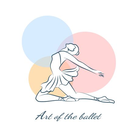 performance art: Art of the ballet logo with ballerina. Girl performance, dancer and sport exercise, training figure, vector illustration