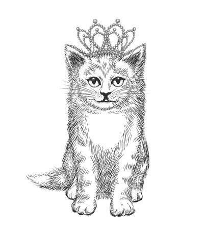 boceto: Pequeño gatito con la corona. bosquejo del gato, lujo real, animal, rey, ilustración vectorial
