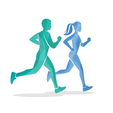 hombres corriendo: Ejecución de hombre y mujer siluetas. cuerpo corredor deporte, fitness activo, ilustración vectorial