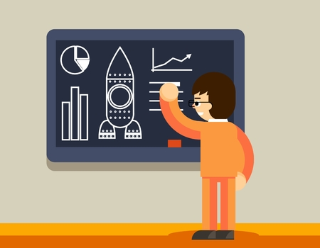 planning: Start up plan on chalkboard. Man create business plan, innovation development, vector illustration Illustration