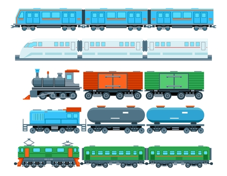 Set of railway trains in flat style. Transport subway, travel and vehicle, vector illustration