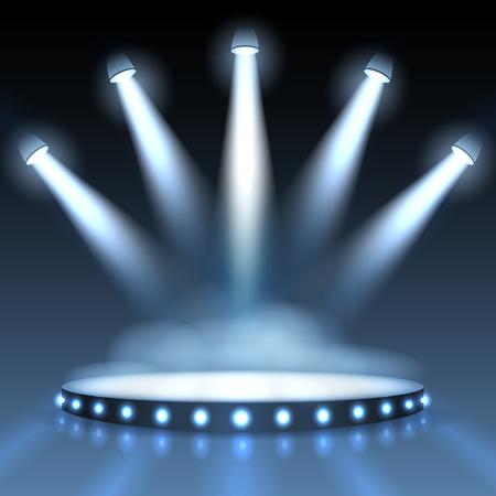 スポット ライトで照らされた表彰台。抽象的な背景のプレゼンテーション。スポット ライト、シーンやステージ スタジオで空の表示します。ベク