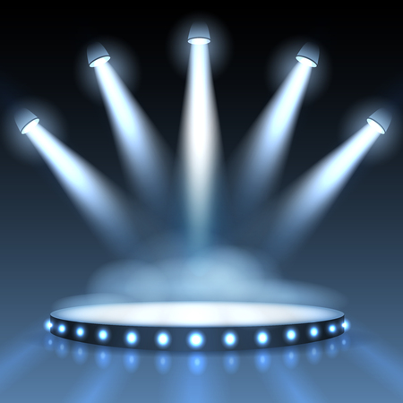 illuminations: Illuminated podium with spotlights. Abstract background presentation. Show with spotlight, scene or stage studio empty. Vector illustration