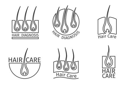 Logotipos cabello sano. Depilación y el cabello extensiones. Anatomía del folículo, la ciencia médica, la epidermis humana, el cuero cabelludo de la piel, ilustración vectorial