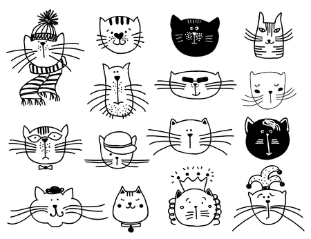 feline: Cute cat heads set in hand drawn. Pet animal vector illustration
