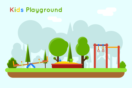 sandpit: Playground background. Play in sandbox, outdoor kindergarten with sand and toy, vector illustration