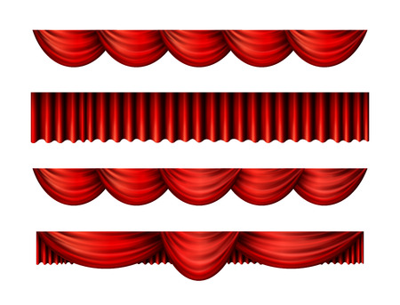 Pelmet red curtains set for interior performance event, vector illustration Illustration