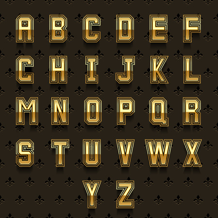 typeset: Retro golden alphabet. Type abc, typeset design shiny, royal collection vector illustration