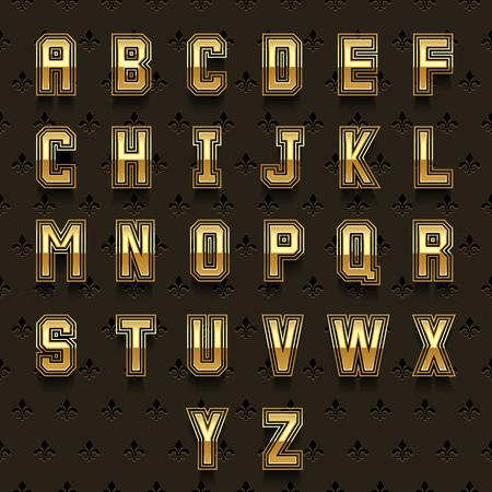retro type: Retro golden alphabet. Type abc, typeset design shiny, royal collection vector illustration
