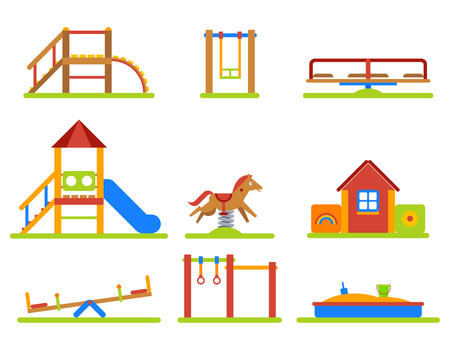 kindergarden: Kids playground flat icons set. Slide and swing, equipment for kindergarden sandbox and merry-go-round. Vector illustration Illustration