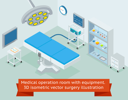 operation light: Medical operation room with equipment. Hospital and medicine, clinic surgical operating. 3D isometric vector surgery illustration