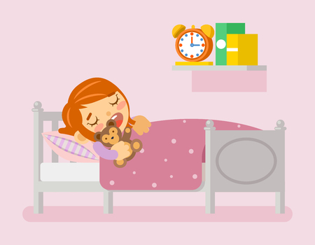 under the bed: Girl sleeping in the bed under blanket with teddy bear. Vector illustration in flat style