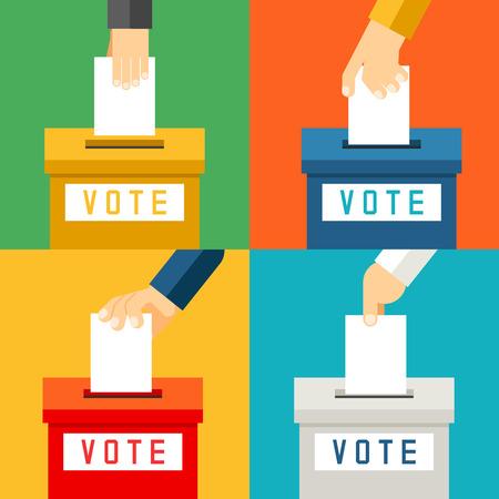 encuestando: Mano que pone la papeleta de voto en la urna. Referéndum de votación y de los votantes elección, ilustración vectorial Vectores
