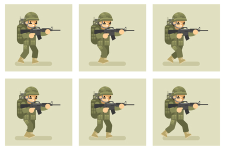 weaponry: Soldier flat design run animation frames. Military army, man action in uniform, vector illustration