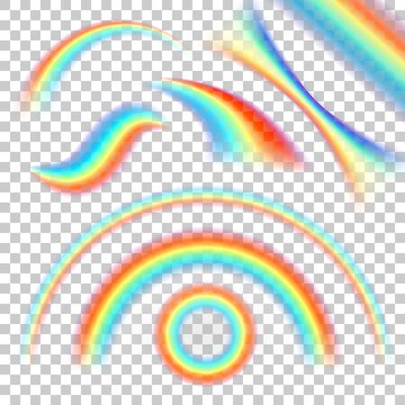 Different shape of realistic rainbows. Shine dynamic flow, collection curve arc round. Vector illustration on transparent background