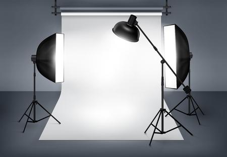 Estudio fotográfico con equipo de iluminación proyector flash y softbox. Ilustración vectorial