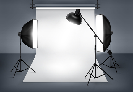 photography backdrop: Photo studio with lighting equipment flash spotlight and softbox. Vector illustration