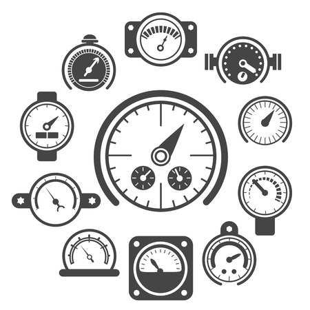 Vector black meter icons set. Power panel, interface barometer gauge control illustration