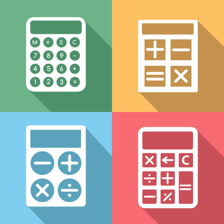 numeral: Calculator icons set with long shadow effect. Button and mathematics, electronic digit, finance and numeral, display set, vector illustration Illustration