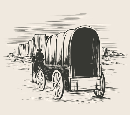 Old wagon in wild west prairies. Pioneer on horse transportation cart, vector illustration