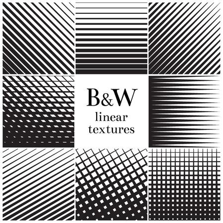 Gerade, parallel dick zu dünne Linien und Gitter-Muster-Set. Monochrome vertikalen und horizontalen Gitter, Streifen linear. Vektor-Illustration Vektorgrafik
