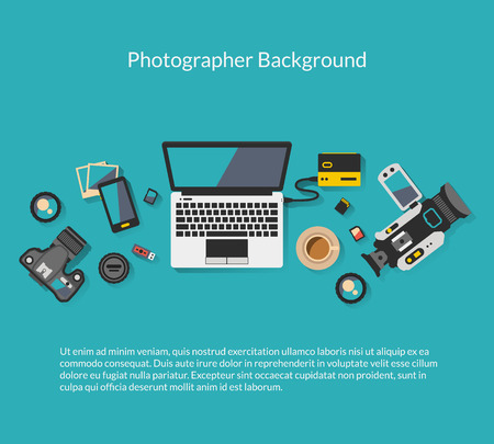 workspace: Photographer and videographer workspace creative background. Workplace with coffee laptop and camera, vector illustration