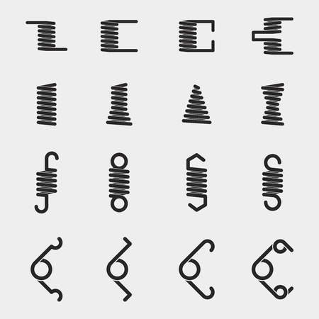 spiral: Spiral springs vector icons set. Metal equipment object, pressure and flexible illustration Illustration