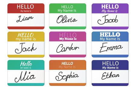 insignia: Conjunto de etiquetas de nombre. Hola mi nombre es. tarjeta, la etiqueta autoadhesiva, la introducción de placas de bienvenida con la escritura de inscripción, ilustración vectorial Vectores