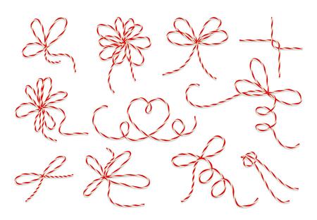 bucle: bramante arcos de regalo conjunto de vectores. Cadena del nudo de lazo para la decoración presente de cumpleaños o Navidad ilustración