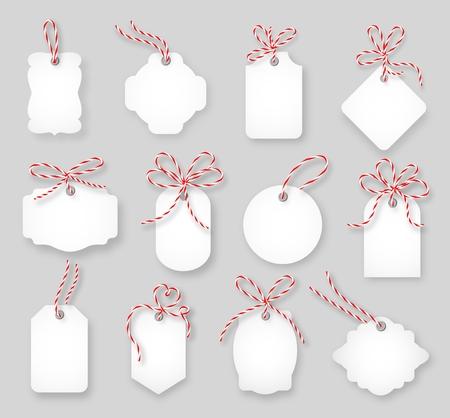 motouz: Cenovky a dárkové karty svázaný provázkem luky set. Papírová etiketa, prodej design, Tring uzel, vektorové ilustrace