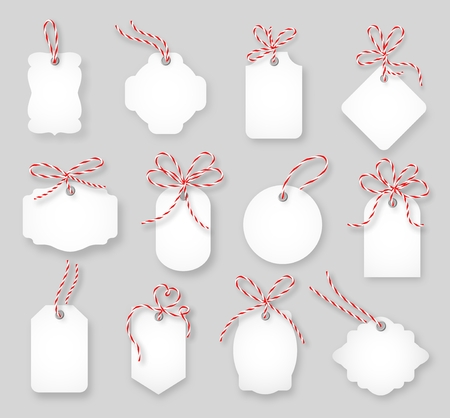 on the ropes: Price tags and gift cards tied up with twine bows set. Label paper, sale design, tring knot, vector illustration