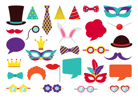 retro background: Party Birthday photo booth props. Hat and mask, costume and cylinder, bunny ears nose moustache. Vector illustration collection Illustration