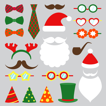 joke glasses: Christmas photo booth set. Hat and beard, mustache and tie, vector illustration